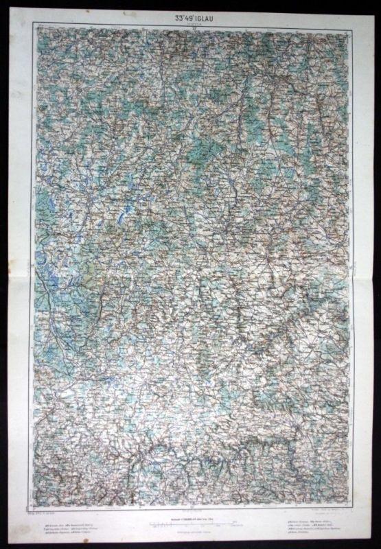 Iglau / Horn / Eggenburg / Teltsch - alte Landkarte 1913