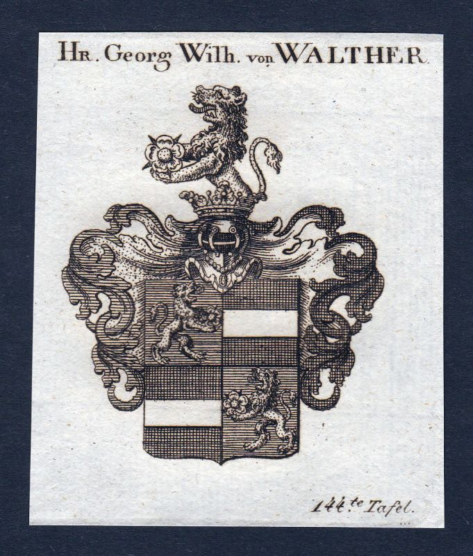Ca. 1820 Walter Walther Wappen Adel coat of arms Kupferstich antique print