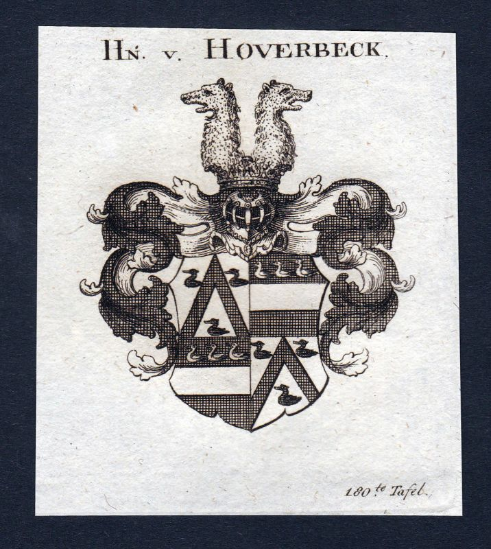 Ca. 1820 Hoverbeck Wappen Adel coat of arms Kupferstich antique print her 143935
