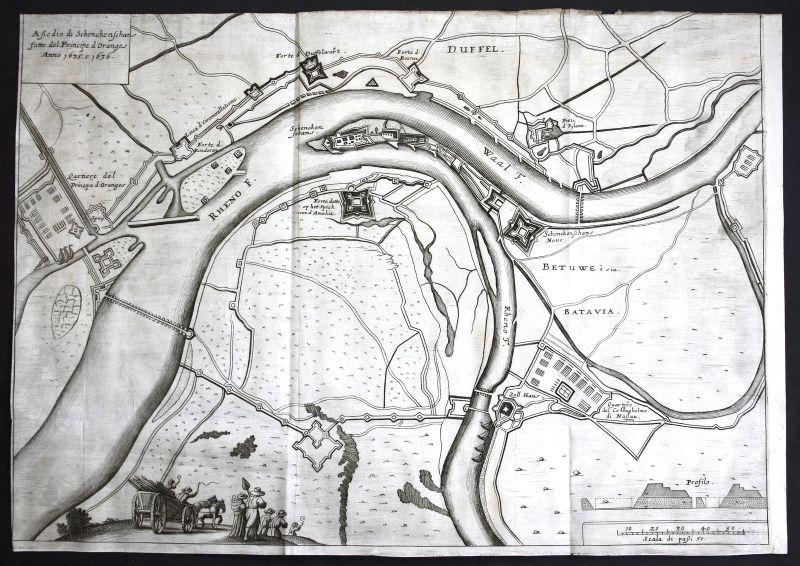 Schenkenschanz Rhein Rhine 1635 Belagerung siege Karte Plan map Kupferstich 1672