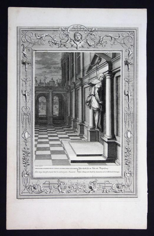 Ca. 1730 Iphis Anaxarete hung Greek Mythologie mythology Kupferstich engraving