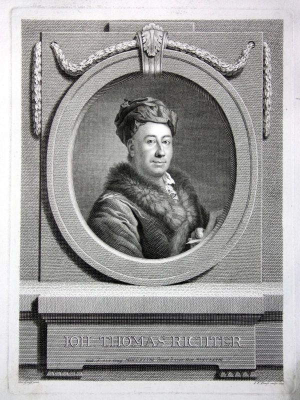 1775 Johann Thomas Richter Kunstsammler Leipzig Kupferstich Portrait engraving
