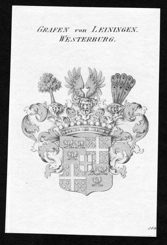 Ca. 1820 Leiningen-Westerburg Wappen Adel coat of arms Kupferstich antiqu 134220
