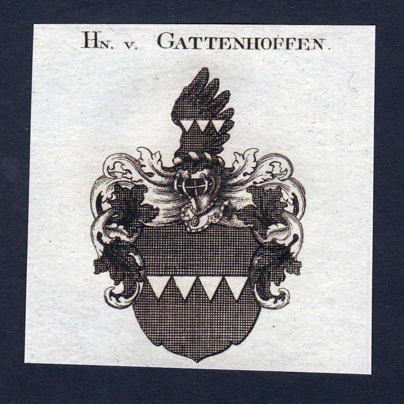 Ca. 1820 Gattenhoffen Gattenhofen Wappen Adel coat of arms Kupferstich antique