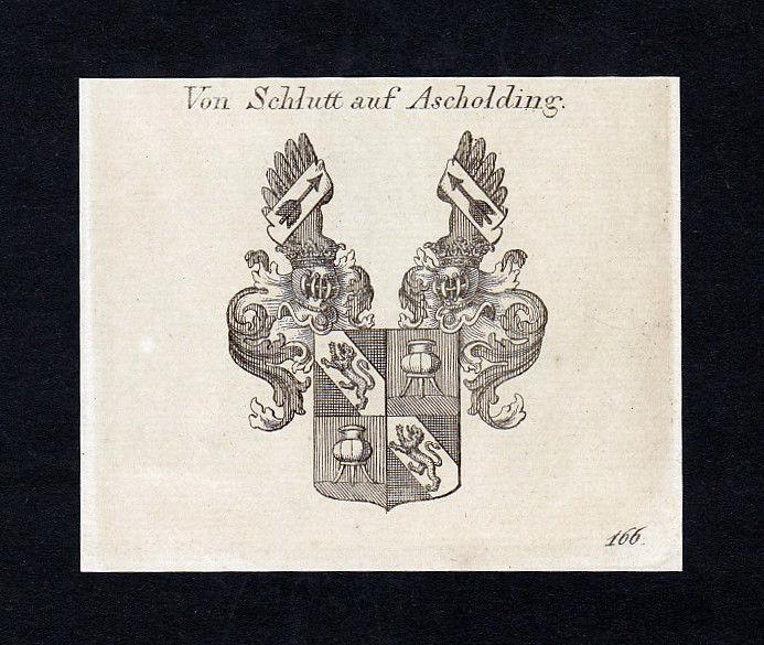 1820 Schlümbach Schlutt Ascholdin Wappen Adel coat of arms Kupferstich engraving