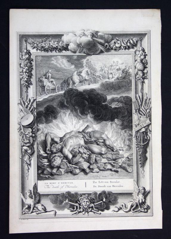 Ca. 1730 Hercules death Tod Greek Mythologie mythology Kupferstich engraving