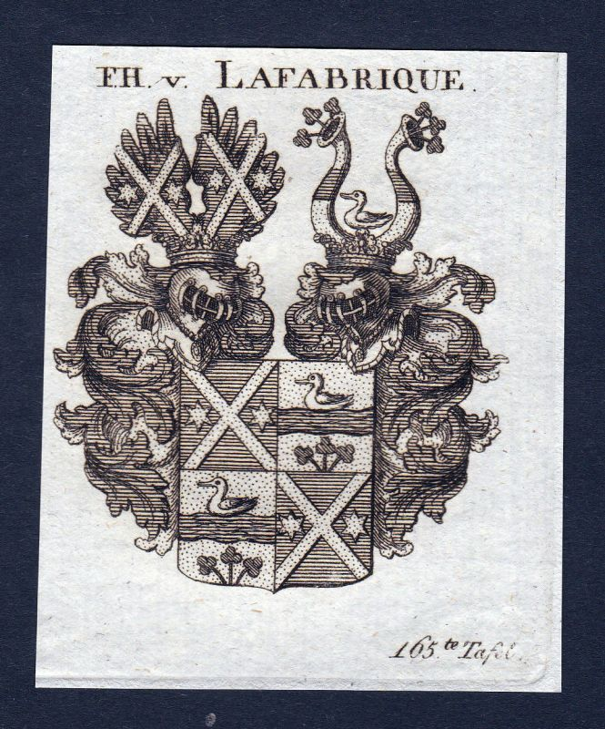 Ca. 1820 Lafabrique Wappen Adel coat of arms Kupferstich antique print he 143799