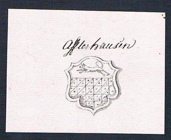 18. Jh. Affterhausen Handschrift Manuskript Wappen manuscript coat of arms