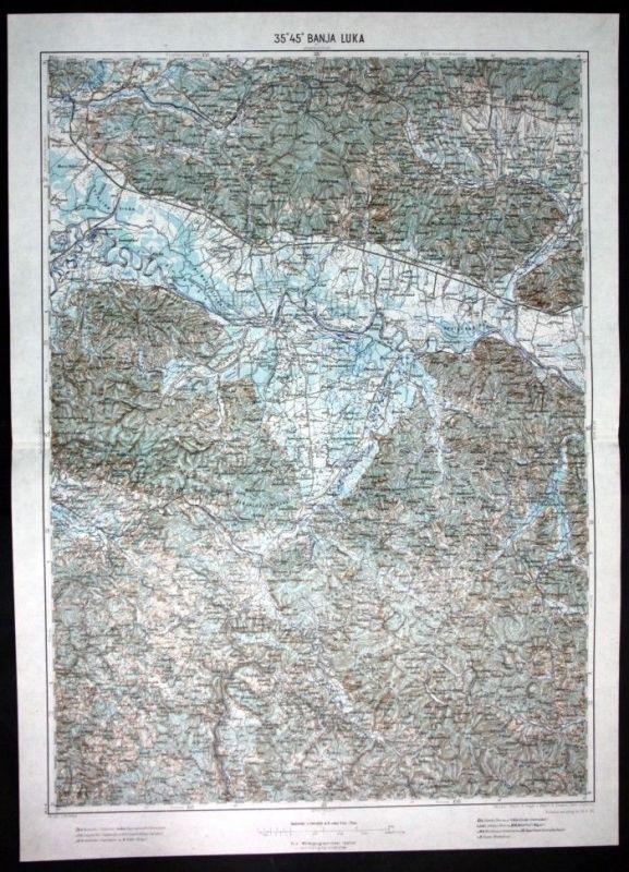 Banja Luka / Cernik / Bjeldvar / Grandiska - alte Landkarte 1915