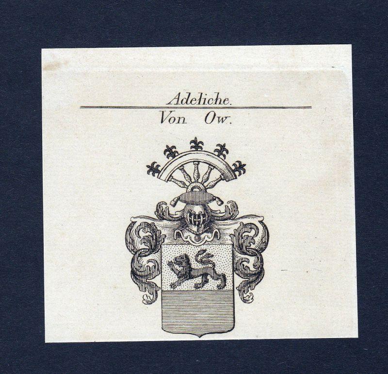 Ca. 1820 Ow Wappen Adel coat of arms Kupferstich antique print heraldry