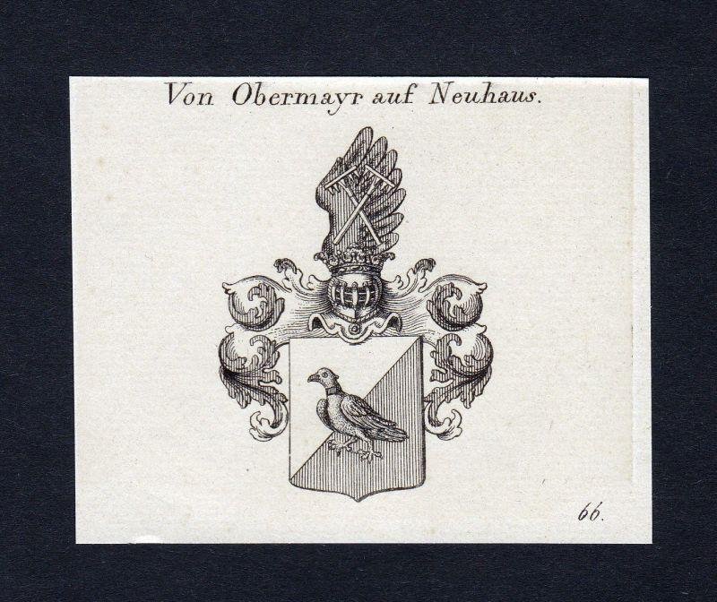 Ca. 1820 Obermayr auf Neuhaus Wappen Adel coat of arms Kupferstich antique print