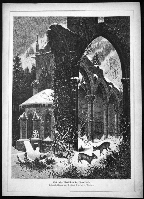 Ca. 1870 Kloster Allerheiligen Ruine Oppenau Ansicht Holzstich antique print