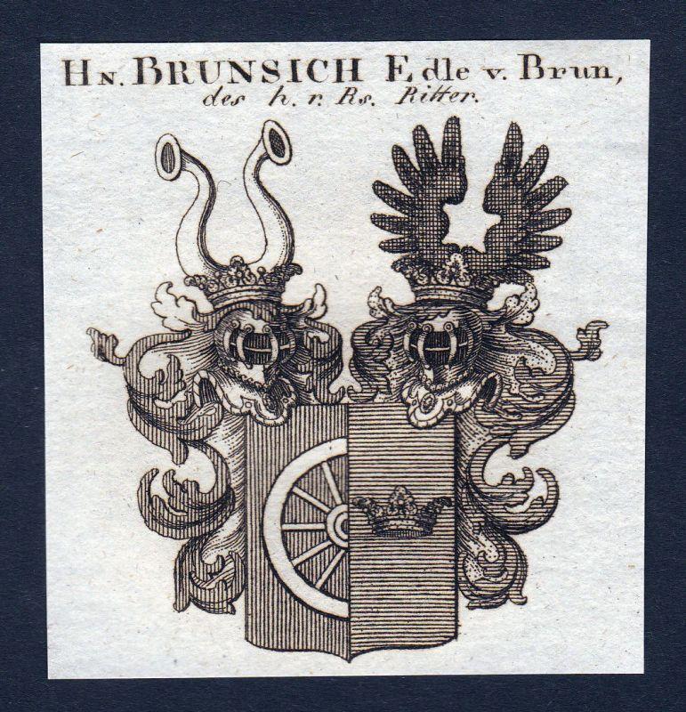 Ca.1820 Brunsich Brunsig Brun Brunn Wappen Adel coat of arms Kupferstich  143884