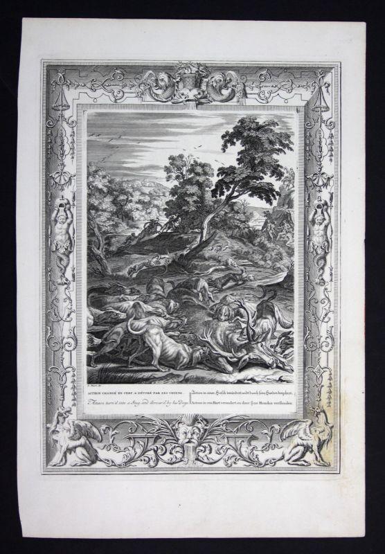 Ca. 1730 Actaeon Aktaion deer Greek Mythologie mythology Kupferstich engraving