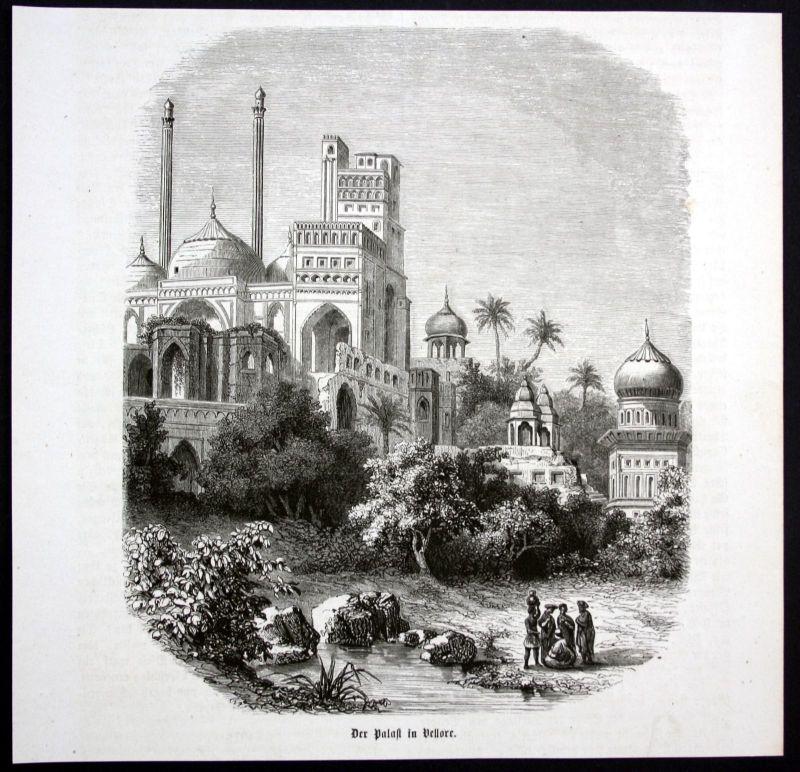 Ca. 1870 Vellore Tamil Nadu Indien India Palast Ansicht Holzstich antique print