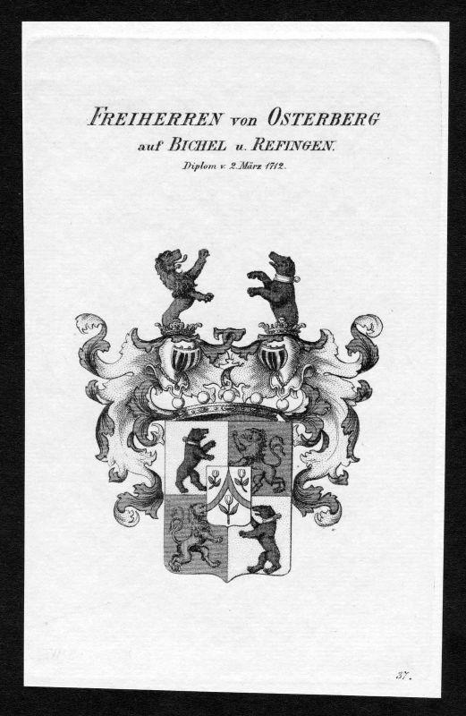 1820 - Von Osterberg auf Bichel und Refingen Wappen Adel coat of arms Heraldik