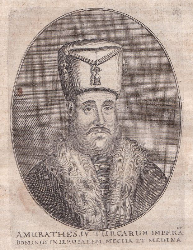 1650 Murad IV. Sultan Turkey Osman Empire Portrait Kupferstich antique print