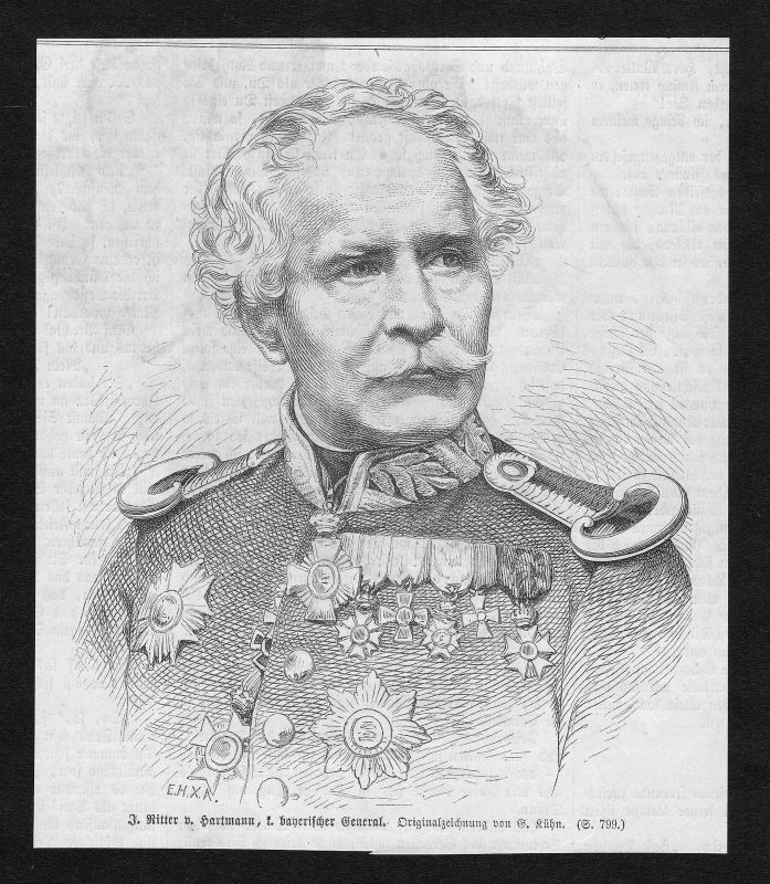 1866 Jakob von Hartmann Offizier General Portrait Holzstich antique print