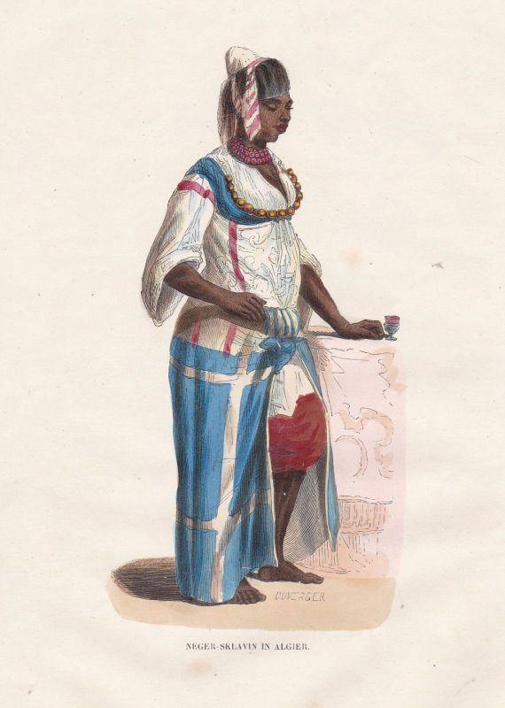 Algier Algerien Afrika Africa Algeria Sklavin Frau women Tracht costume Grafik