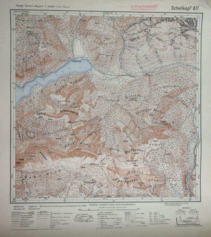 1936 Schellkopf Mittel-Berg Hochwanner Spieß Wald Blatt-Berg 1:25000 Karte