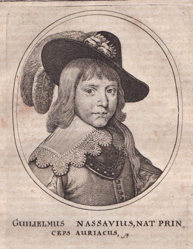 1650 Willem II van Oranje Prins Potrait Kupferstich antique print Merian
