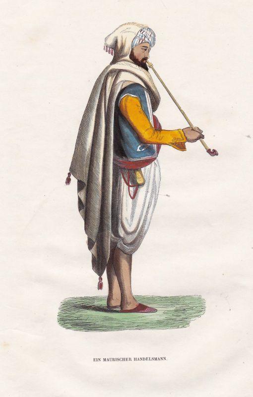 Maure Mauren Moors Handel trade Handelsmann tradesman Tracht costume Grafik