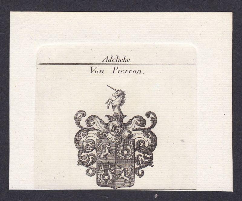 Pierron Wappen Adel coat of arms heraldry Heraldik Kupferstich antique print