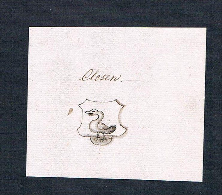 18. Jh. Closen Adel Handschrift Manuskript Wappen manuscript coat of arms