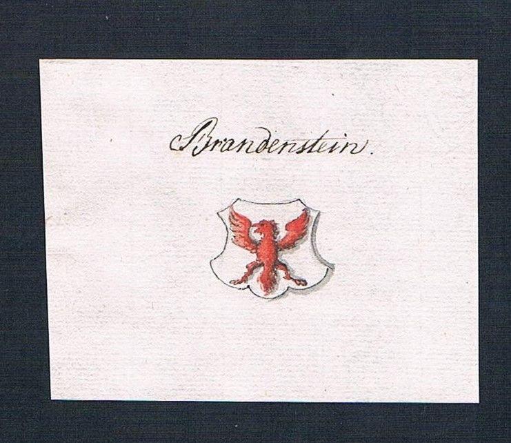 18. Jh. Brandenstein Adel Handschrift Manuskript Wappen manuscript coat of arms