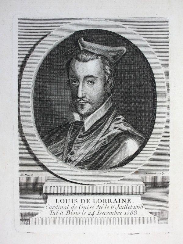 18. Jh Louis II Lorraine Lothringen Cardinal Kardinal Guise Kupferstich Portrait