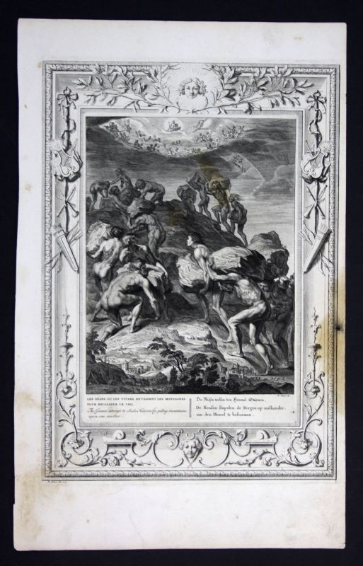 1730 Giants Riesen Himmel sky Greek Mythologie mythology Kupferstich engraving