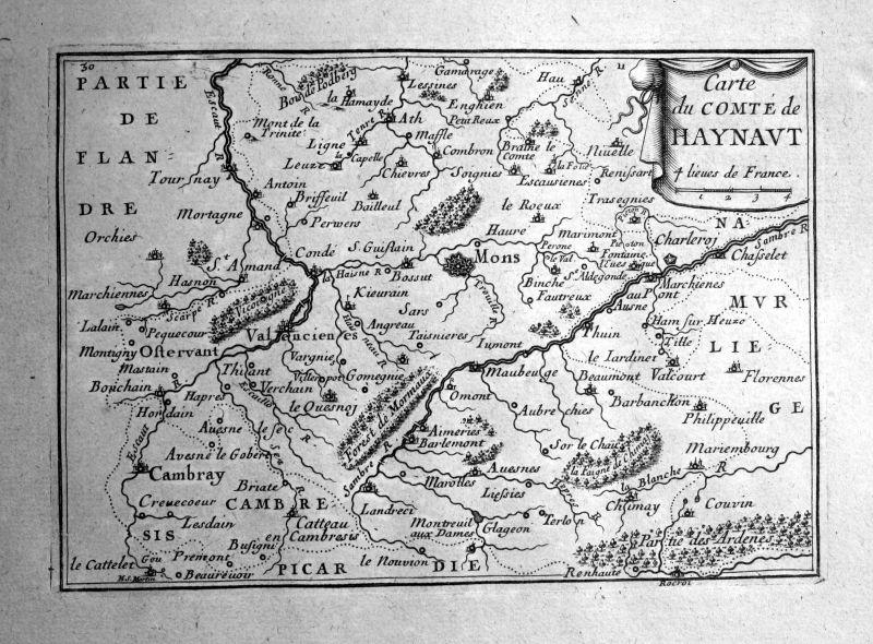 1680 Hainaut Henegouwen Belgique carte map gravure engraving Beaulieu