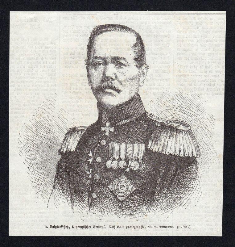 Konstantin Bernhard von Voigts-Rhetz General Portrait Holzstich antique print