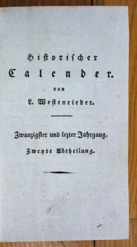 1815 Westenrieder Historischer Kalender Calender Almanach 3 Kupfertafeln 2 Band