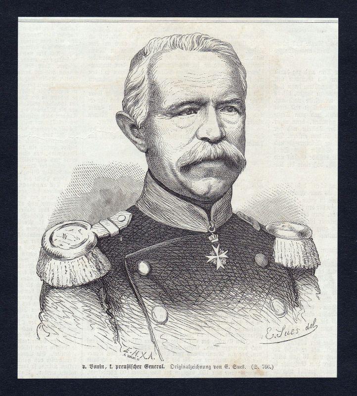 1866 Bonin Preußen Hinterpommern General Portrait Holzstich antique print