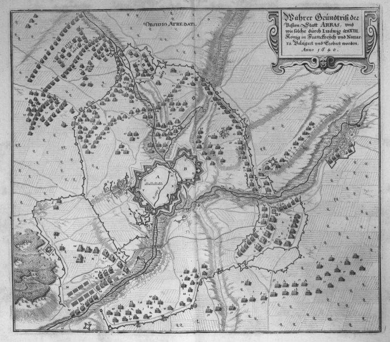 1645 Arras Pas-de-Calais bataille gravure plan Kupferstich antique print Merian