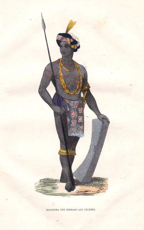1840 Tondano Indonesien Indonesia Sulawesi Tracht Trachten costumes Grafik