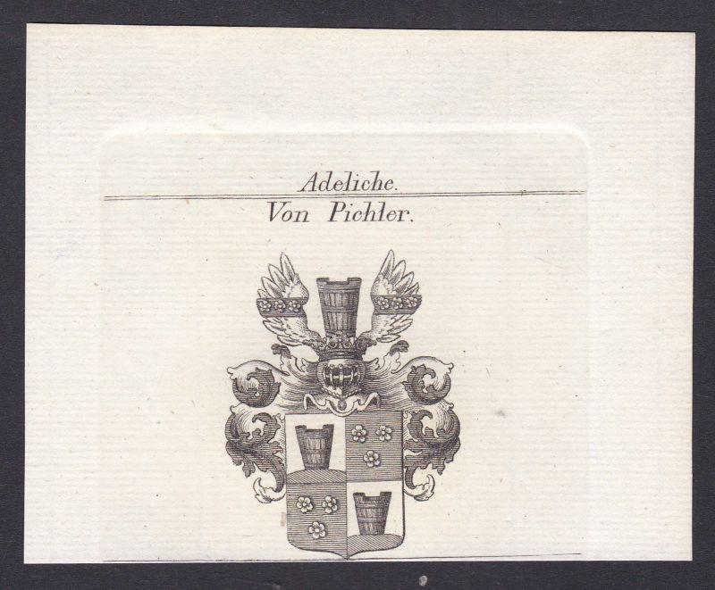 Pichler Wappen Adel coat of arms heraldry Heraldik Kupferstich antique print
