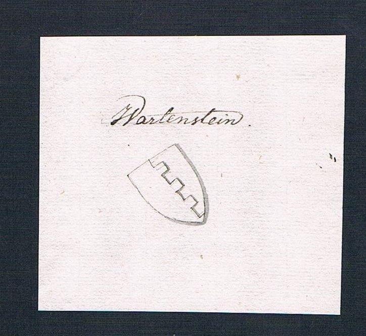 18. Jh. Wartenstein Adel Handschrift Manuskript Wappen manuscript coat of arms