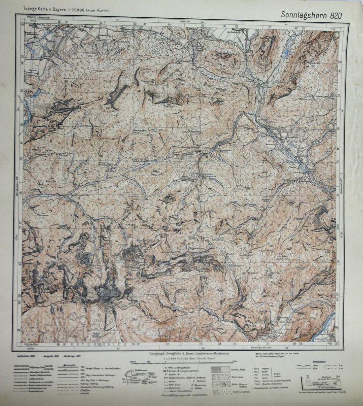 1937 Sonntagshorn Falkenstein Rauschberg-Lahner Kien-Bergl 1:25000 Karte