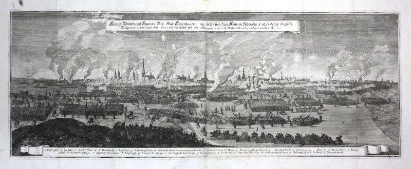 1693 Kobenhavn Danmark battle Schlacht Plan Kupferstich antique print Merian