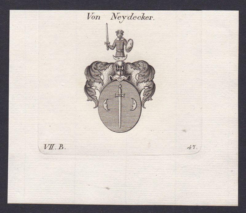 Neydecker Wappen Adel coat of arms heraldry Heraldik Kupferstich antique print