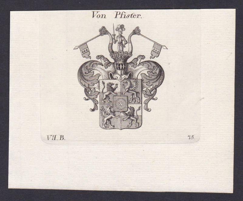 Pfister Wappen Adel coat of arms heraldry Heraldik Kupferstich antique print