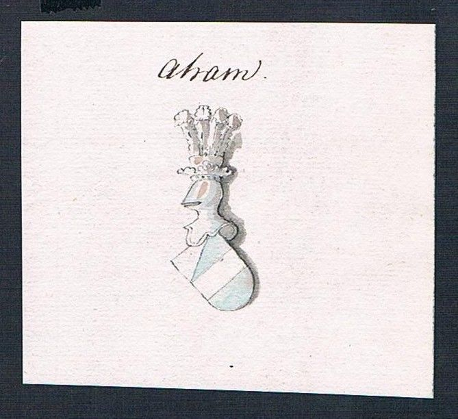 18. Jh. Aham Adel Wappen Handschrift Manuskript manuscript coat of arms