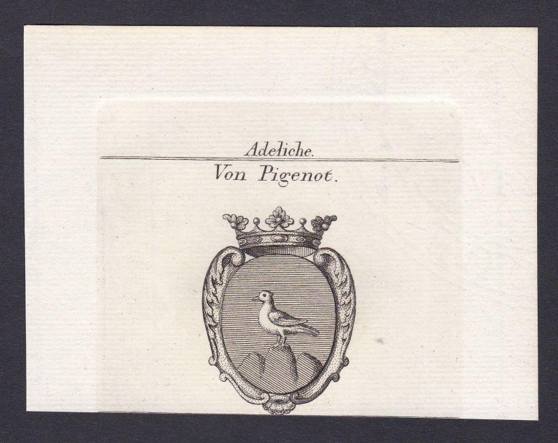 Pigenot Wappen Adel coat of arms heraldry Heraldik Kupferstich antique print