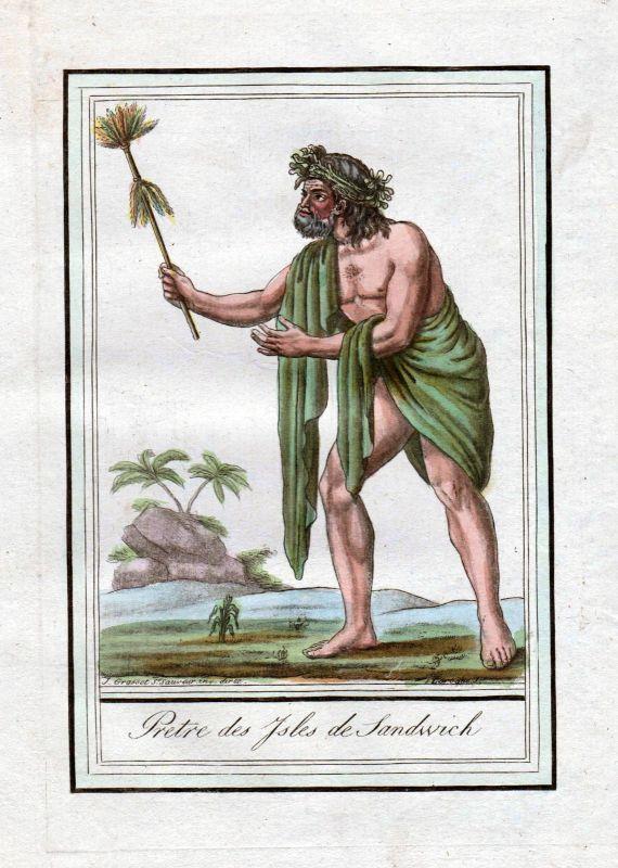1780 Hawaii Medicin man Sandwich Island Trachten costume Kupferstich engraving