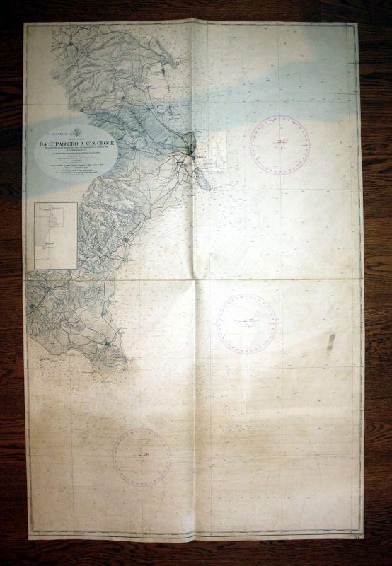 1959 Ionio Sicilia Da Capo Passero A Croce Sizilien Italy Italia Italien map