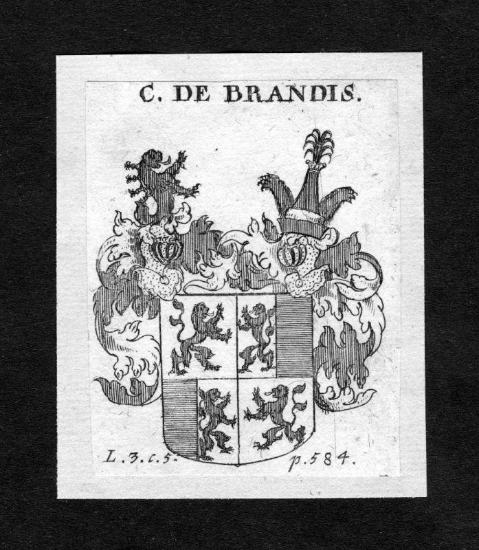 1750 - Brandis Wappen Adel coat of arms heraldry Heraldik Kupferstich