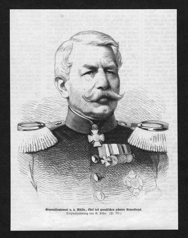Freiherr Oskar Zoller Generallieutenant Portrait Holzstich antique print