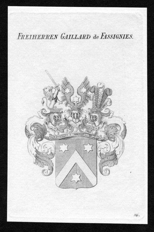 1820 - Gaillard de Fassignies Wappen Adel coat of arms heraldry Heraldik